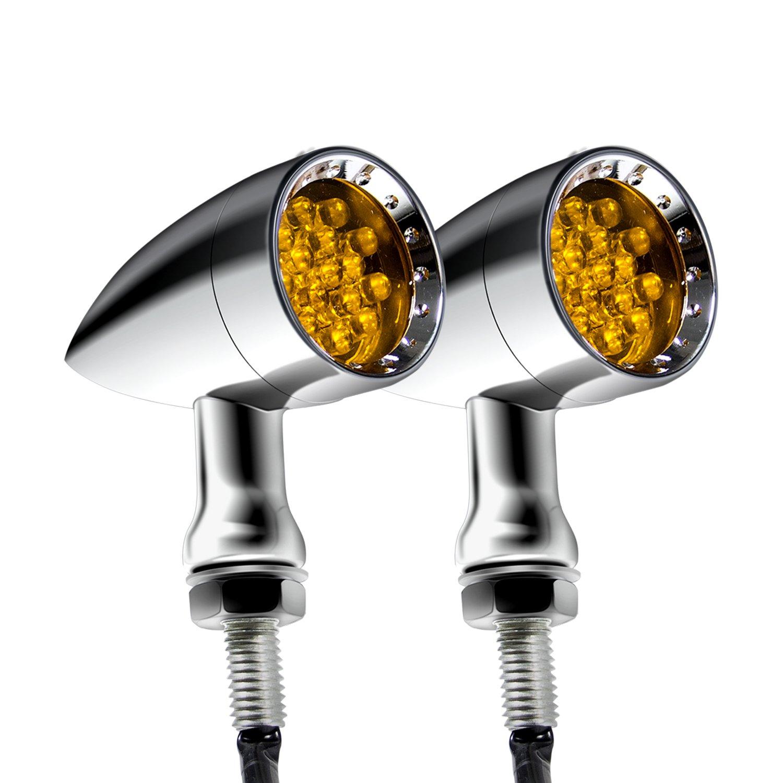 Senkauto Motorcycle Bullet LED turn Signal Light Blinker Yellow Light, Black