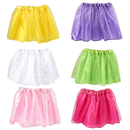 Blue Panda 6 Pack Girls Fairy Princess Tutus 6 Assorted Colors Two Layer Skirts With Stars