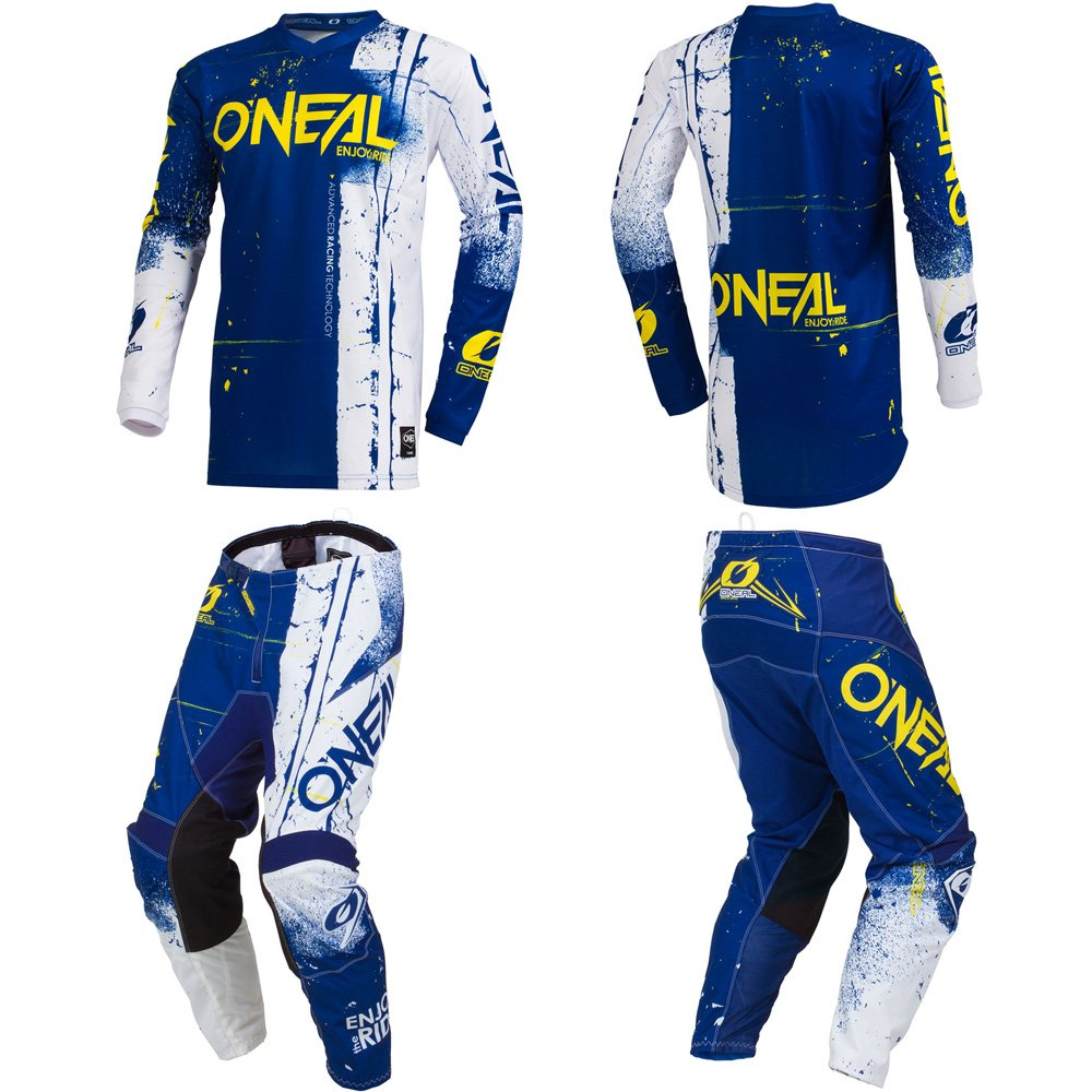 O'Neal Element Shred Blue Adult motocross MX off-road dirt bike Jersey Pants combo riding gear set (Pants W36/Jersey X-Large)