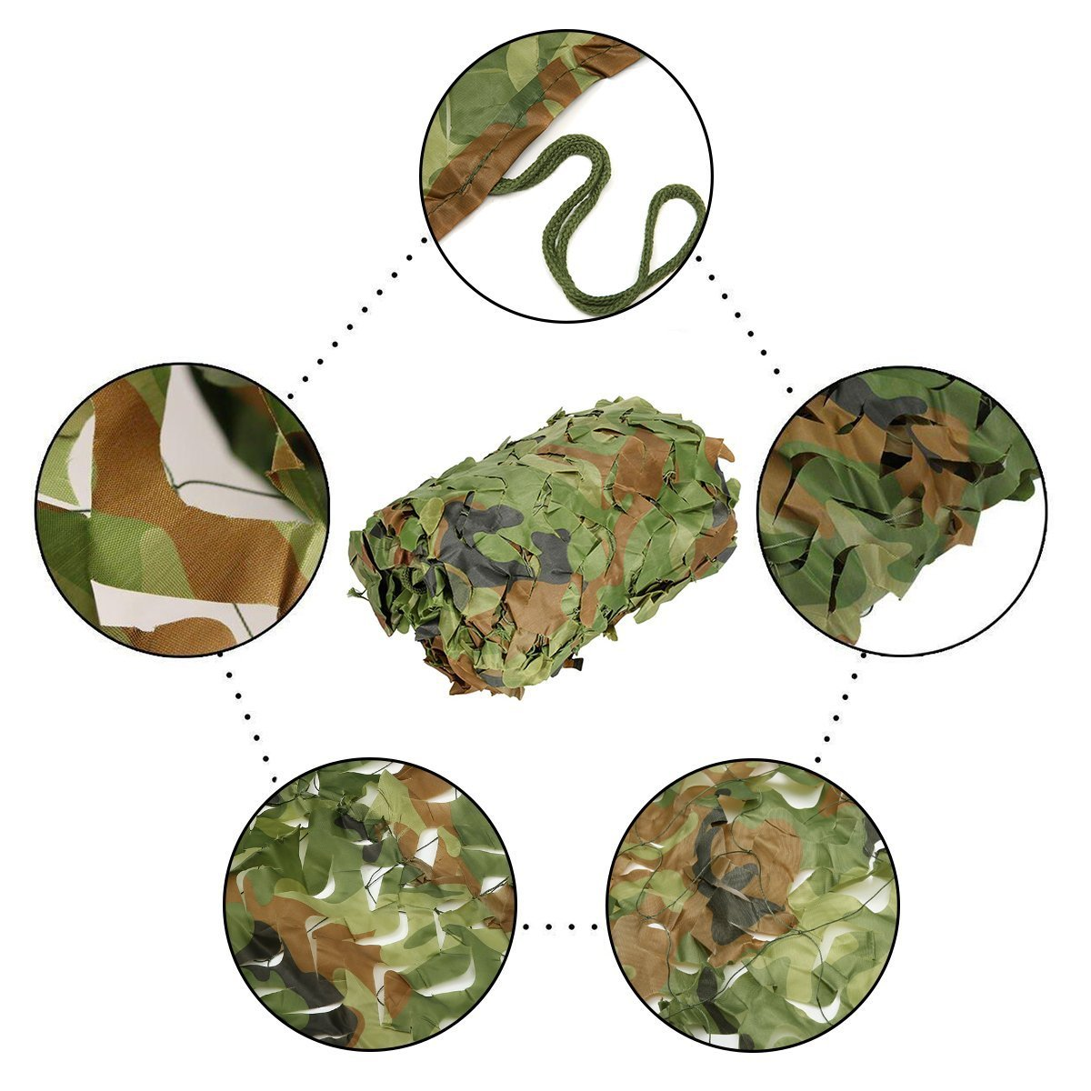 elecfan 10 ft x 10 ft Woodland Camo Netting, Outdoor Camouflage Netting Military, Camping Hunting Shooting Blind Sunscreen Camo Net Watching Hide Party Decorations