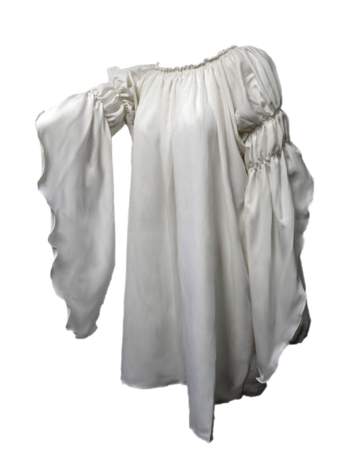 Renaissance Medieval Peasant Dress up Pirate Faire Celtic Blouse (White)