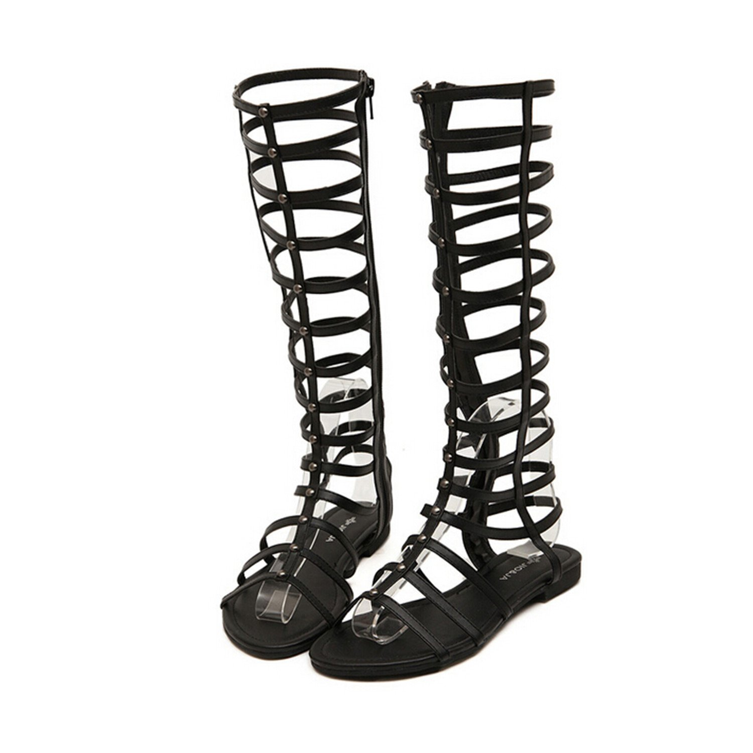 2f38ac0a22515 Women's Cut Out Roman Gladiator Sandals Flat Knee High Boots Strappy ...