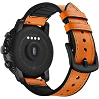 AISPORTS Voor Amazfit Stratos 2 Band Lederen Siliconen Rubber Hybride 22mm Vrouwen Mannen Polsband Armband Polsband Vervangende Band voor Amazfit Stratos 2/2S, Ticwatch Pro, Samsung Galaxy Watch 46mm BRON