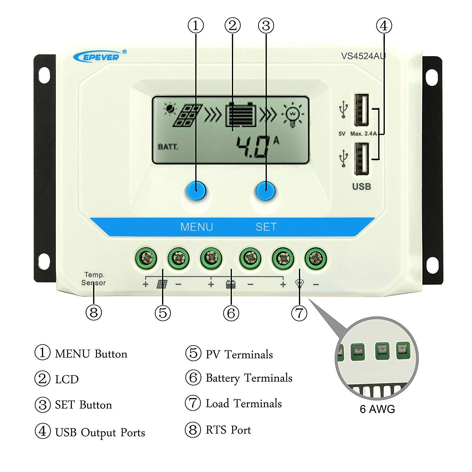 // Gel//Flooded for Sealed EPEVER 30A Solar Charge Controller 12V//24V Auto Default Solar Intelligent Regulator with Dual USB and LCD Display Max 50V Input