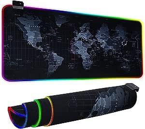 جيمنج ماوس باد موضيئه مقاس 80فى30 سم للكيبورد و الماوس - على شكل خريطه عالم