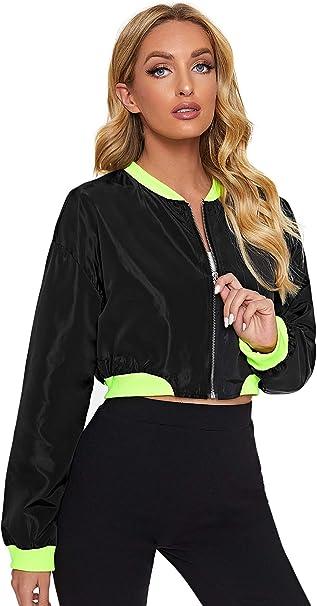 Floerns Womens Long Sleeve Lightweight Crop Bomber Jacket