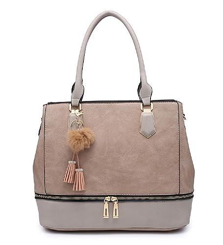 New Ladies Faux Leather Two Toned Tassel Pom Pom Tote Bag Handbag