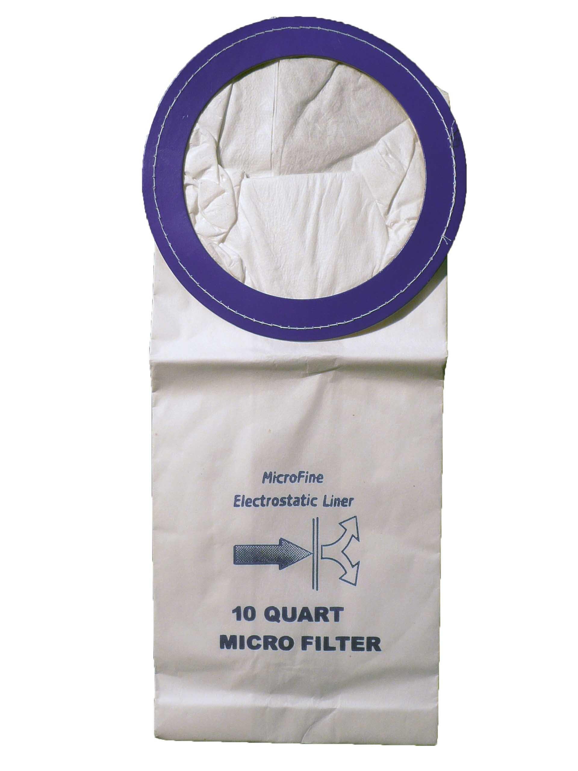 10 Commercial Backpack Vacuum Cleaner Bags 10 Quart, Clarke, Coach, Sandia, Windsor, Proteam, Raven, Perfect, EDIC, Windsor # 86198850 and 68005, Clarke 147109750, Proteam 100331, 450243, Sandia # 10-0006, Oreck OR1001,