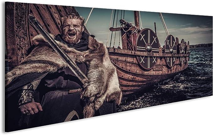 islandburner Cuadro en Lienzo Guerrero Vikingo y Barcos Cuadros Modernos Decoracion Impresi/ón Salon