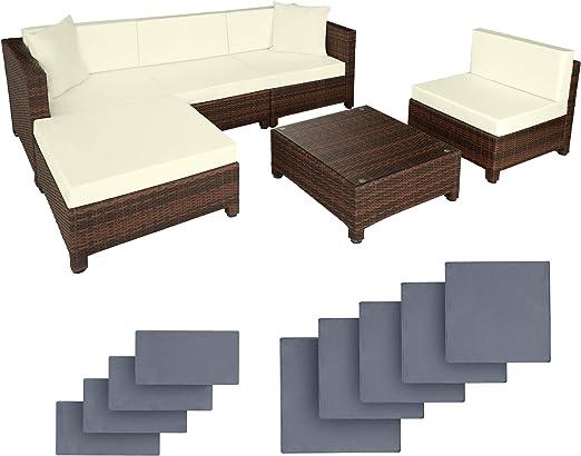 TecTake Conjunto muebles de Jardín en Poly Ratán Aluminio, color negro + 2 Set de fundas intercambiables, tornillos de acero inoxidable - disponible en diferentes colores - (Negro/Marrón mixed): Amazon.es: Jardín