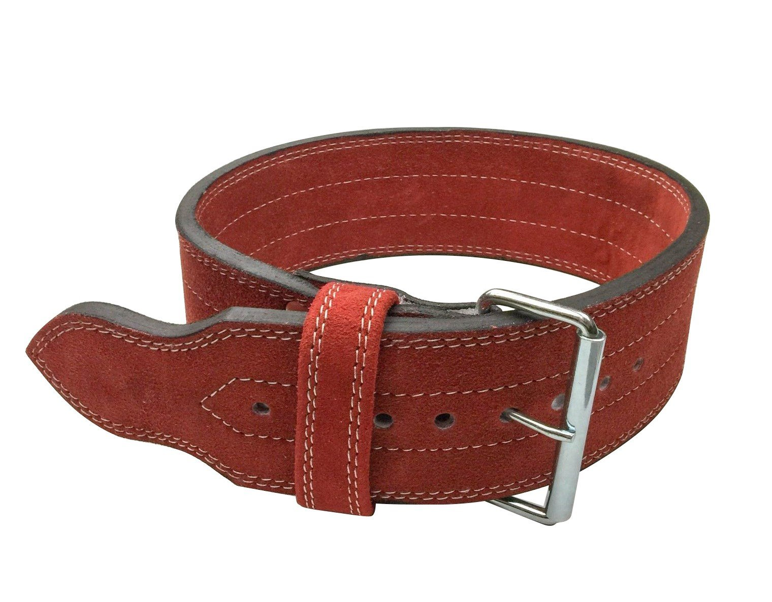 Flexz Fitness Single Prong Closure Powerlifting and Weightlifting Belt, 10mm, Red, Size Medium