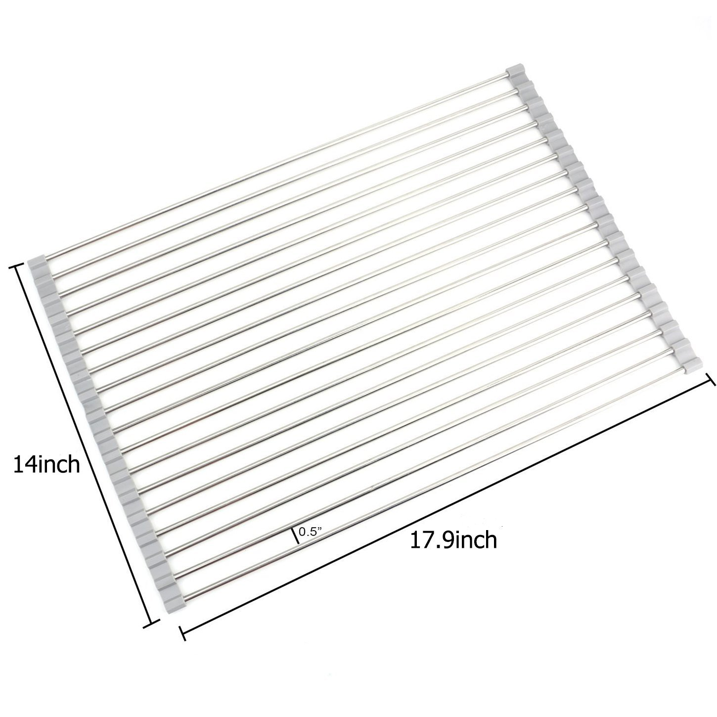 Roll up Dish Drying Rack-17.9'' (L) x 14'' (W) -over the Sink Dish Drying Rack Wide 304 Stainless Steel Dish Rack Foldable Dish Drainers for Kitchen Sink Counter by AHYUAN (Warm Grey)