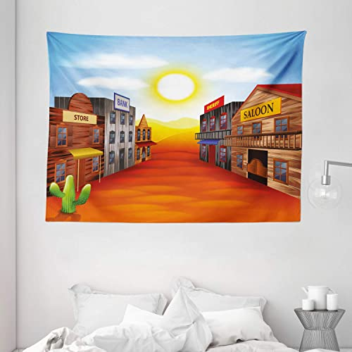 Ambesonne Western Tapestry, Realistic Wild West Town Illustration Iconic Places Sunset Vibrant Desert Landscape, Wide Wall Hanging for Bedroom Living Room Dorm, 80 X 60 , Multicolor