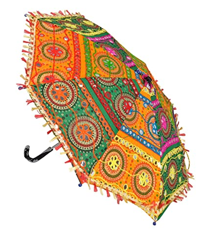 Lal Haveli Party Decoration Designer Embroidery Cotton Umbrella Parasol 21 x 26 inches