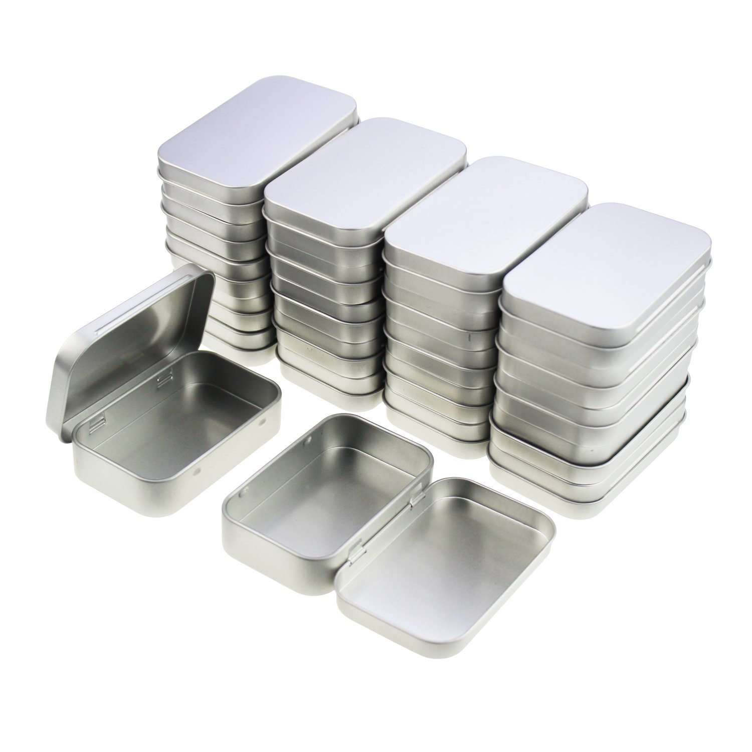 LJY 22 Pieces Rectangular Metal Empty Hinged Tins Containers Basic Necessities Home Storage Organizer Mini Box Set (95 x 62 x 20 mm) 4336940059