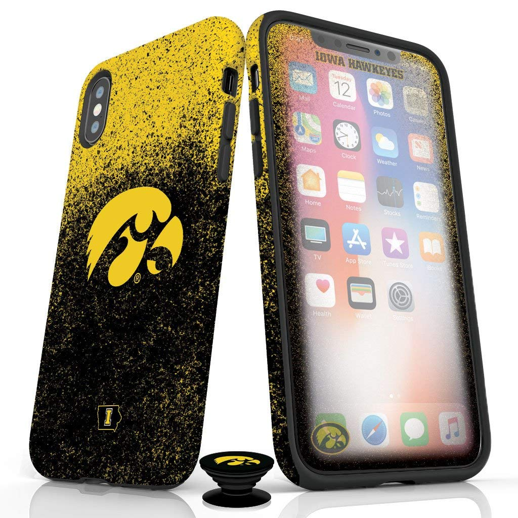 Phone Accessory Bundle for iPhone XR - Screen Protector, Glossy iPhone Case, and Cell Phone Grip with Iowa Hawkeyes Design by Screenflair