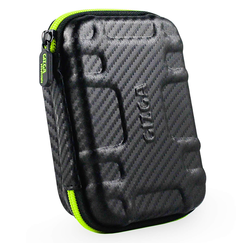 Gizga Essentials External Hard Drive Case for 2.5-Inch Hard Disk -Carbon Fibre (Black/Green)