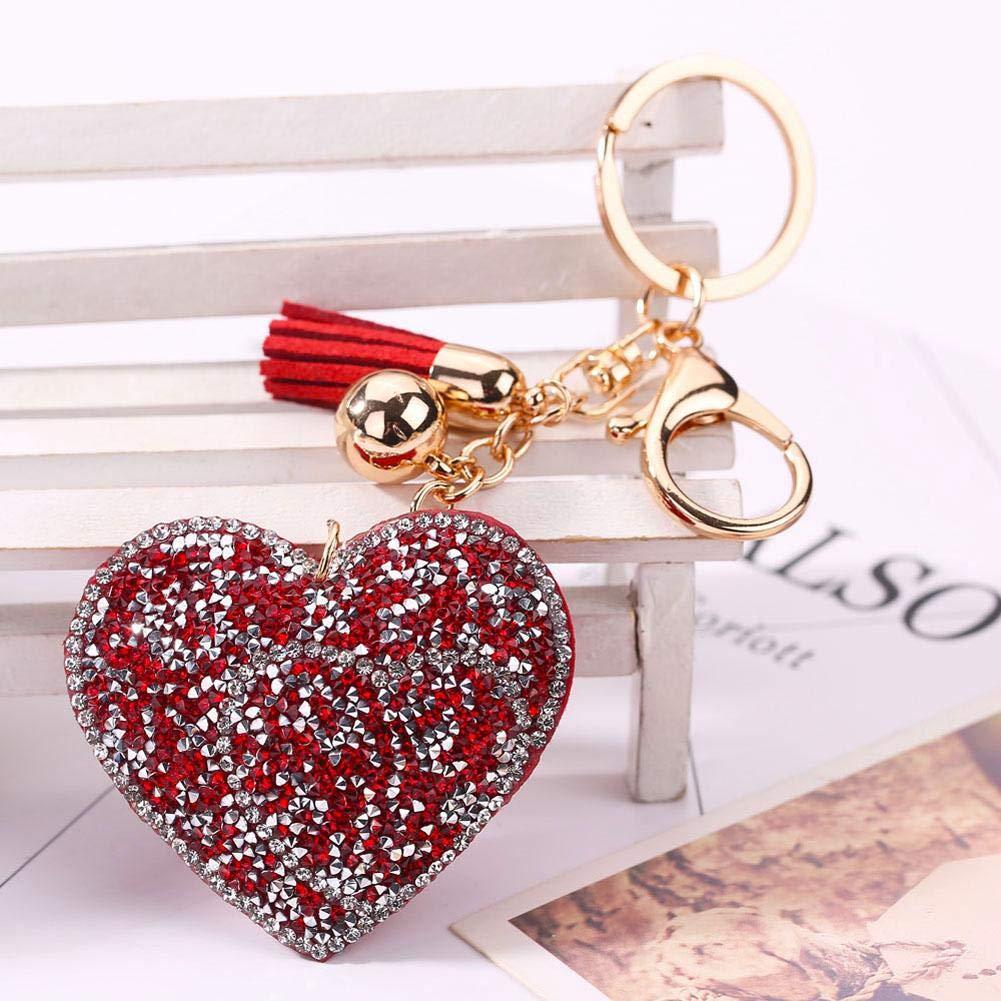 Porte-cl/és voiture d/écoration sac bijoux petits articles femmes diamant multicolore porte-cl/és en forme de coeur avec sac de forage pendentif de voiture