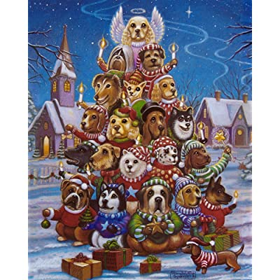 Canine Christmas Tree Jigsaw Puzzle 1000 Piece: Toys & Games