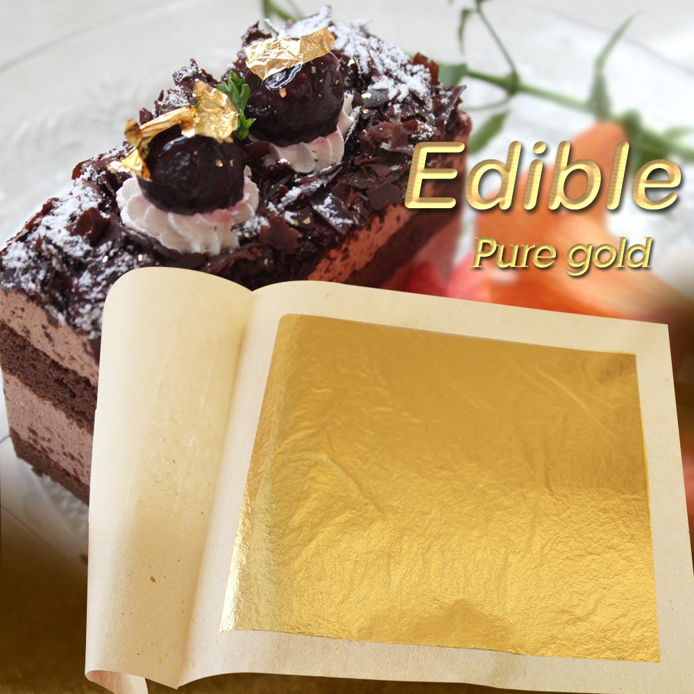 Edible 24K Gold Leaf Sheets 100 pcs 4.33 x 4.33 cm Pure Genuine Facial Edible Gold Leaf for Cooking, Cakes & Chocolates, Decoration, Health & Spa (100 Sheets) by KINNO (Image #6)