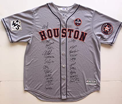 e86871e9c23 Houston Astros 2017 World Series Champion Team Autographed Jersey. Signed  at paid private Autograph Sessions. Signed by 25. BAS JSA Coa s at Amazon s  Sports ...