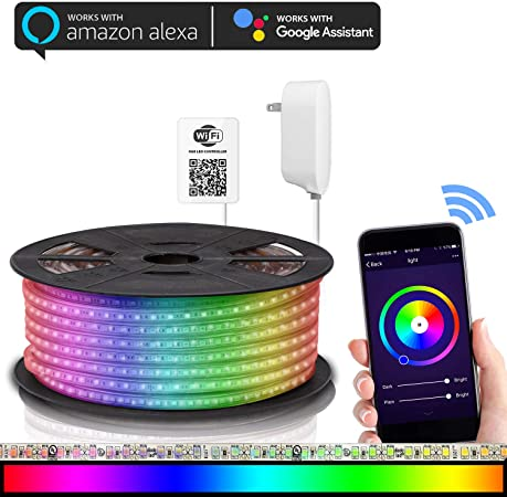 Maxonar Led Strip Lights Works With Alexa Wifi Led Light Strip Rgb Multicolor Waterproof Ip65 Strip Light Wireless Smart Phone Controlled Diy Kit