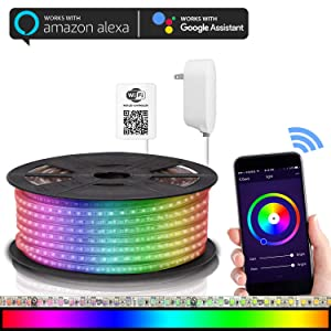 Maxonar LED Strip Lights Compatible with Alexa, WiFi Wireless Smart Phone Controlled DIY Kit 32.8ft(10M) SMD 5050 RGB Multicolor Waterproof IP65 600LEDs Strip Light,Works with Amazon Echo&Google Home