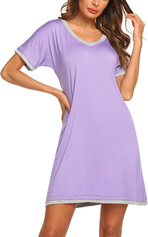 Ekouaer Nightgowns for Womens Short Sleeve Nightdress V Neck Nightshirt Comfy Sleep Shirt S-XXL