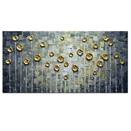 Asdam Art 3D Gold Rose Oil Paintings Abstract Flower Hand Painted On Canvas