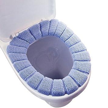 Almohadillas para el asiento del inodoro en toalla lavable y elástica, 3 unidades (azul, rosa, marrón).: Amazon.es: Hogar