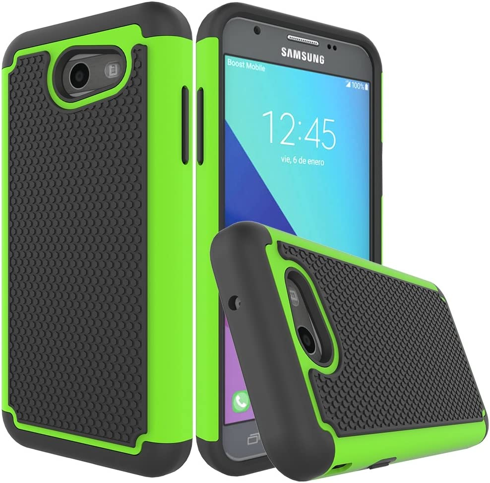 Galaxy J3 Emerge Case,Galaxy J3 Prime Case,Galaxy J3 Luna Pro Case,J3 Eclipse Case,Galaxy Express/Amp Prime 2 Case,Asmart Armor Defender Cover Protective Phone Case for Samsung Galaxy J3 2017, Green