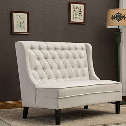 Tongli Button Tufted Upholstered 2 Seater Loveseat Settee With Tall  Wingback Chair