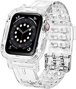 Jiunai compatible with Apple Watch Bands 42mm 44mm Transparent Clear Rugged Bumper Sports Crystal Soft Bumper iWatch Band Strap Protective Case Designed for Apple Watch Series 6 5 4 3 2 SE 42mm 44mm