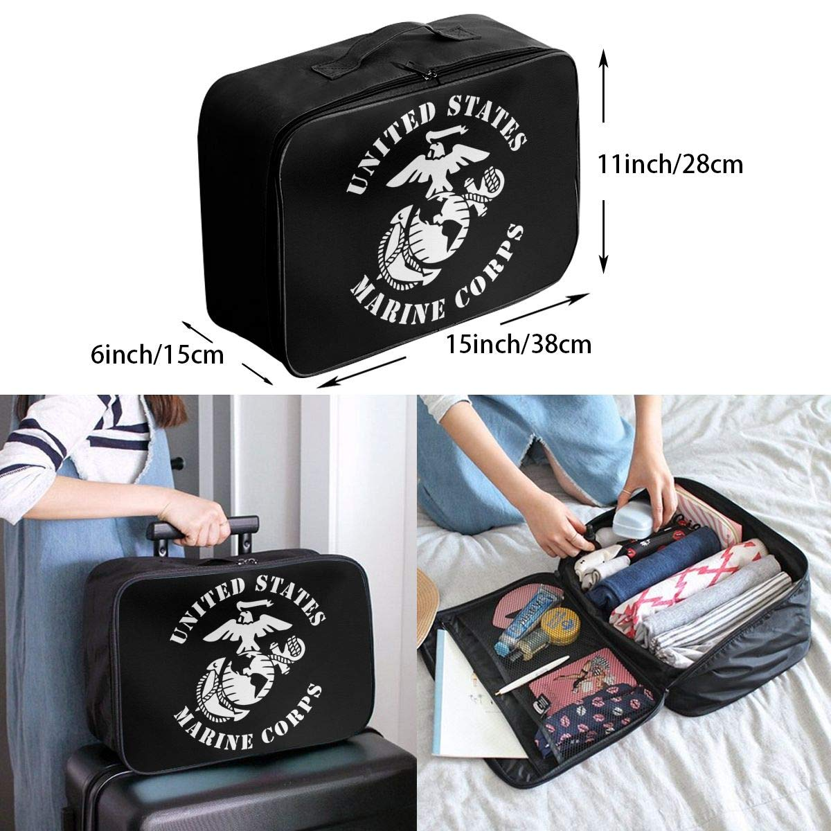 United States Marine Corps Travel Bag Men Women 3D Print Pattern Gift Portable Waterproof Oxford Cloth Bags