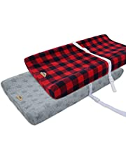 Ultra Soft and Contoured Plush Changing Pad Cover for Baby 2-Pack by BlueSnail (red plaid+star jacquard)
