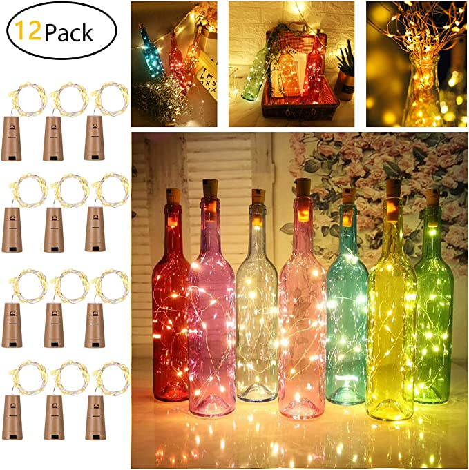 Amazon.com: Paquete de 12 luces de corcho para botellas de ...
