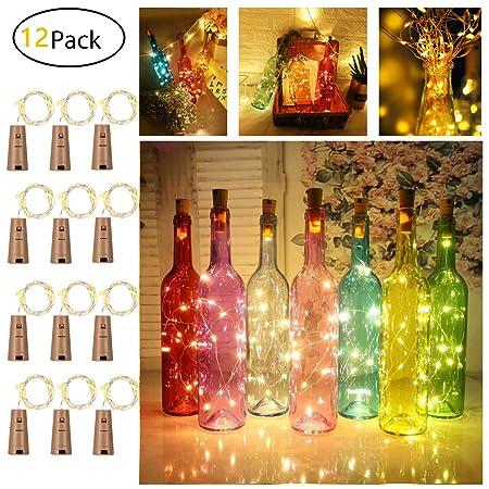 Amazon.com: Paquete de 12 luces de corcho para botellas de ...