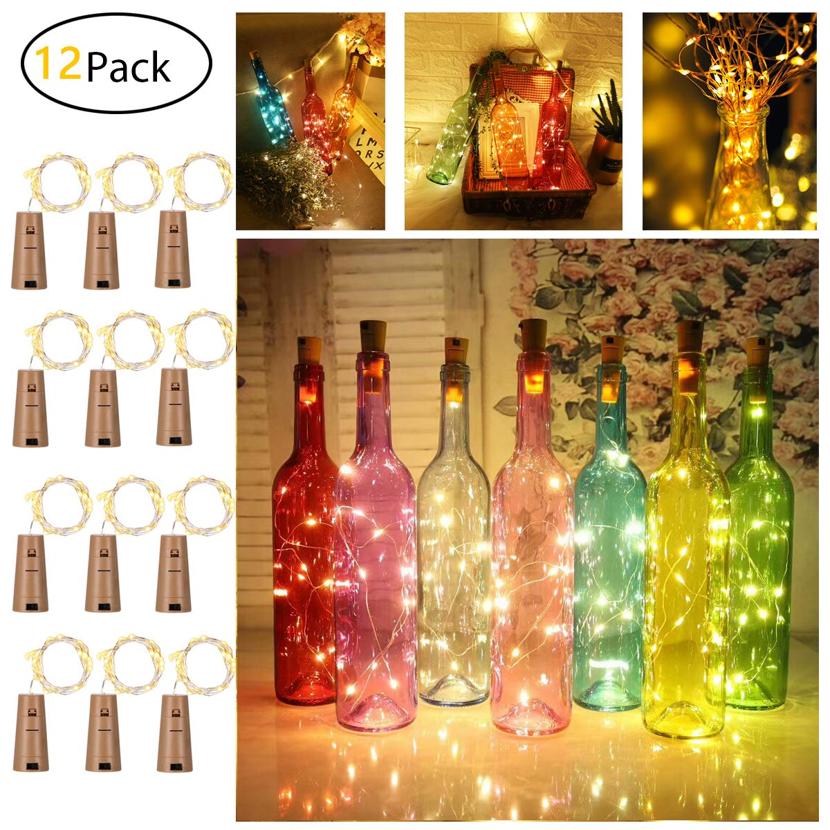 12 Packs Wine Bottle Cork Lights,YOUNGFOECE 20 LED Low Voltage Copper Wire Lights String Starry Fairy Indoor Decoration for Bottle DIY, Party, Wedding, Ceremony (Warm White 2M / 6.5 Ft)