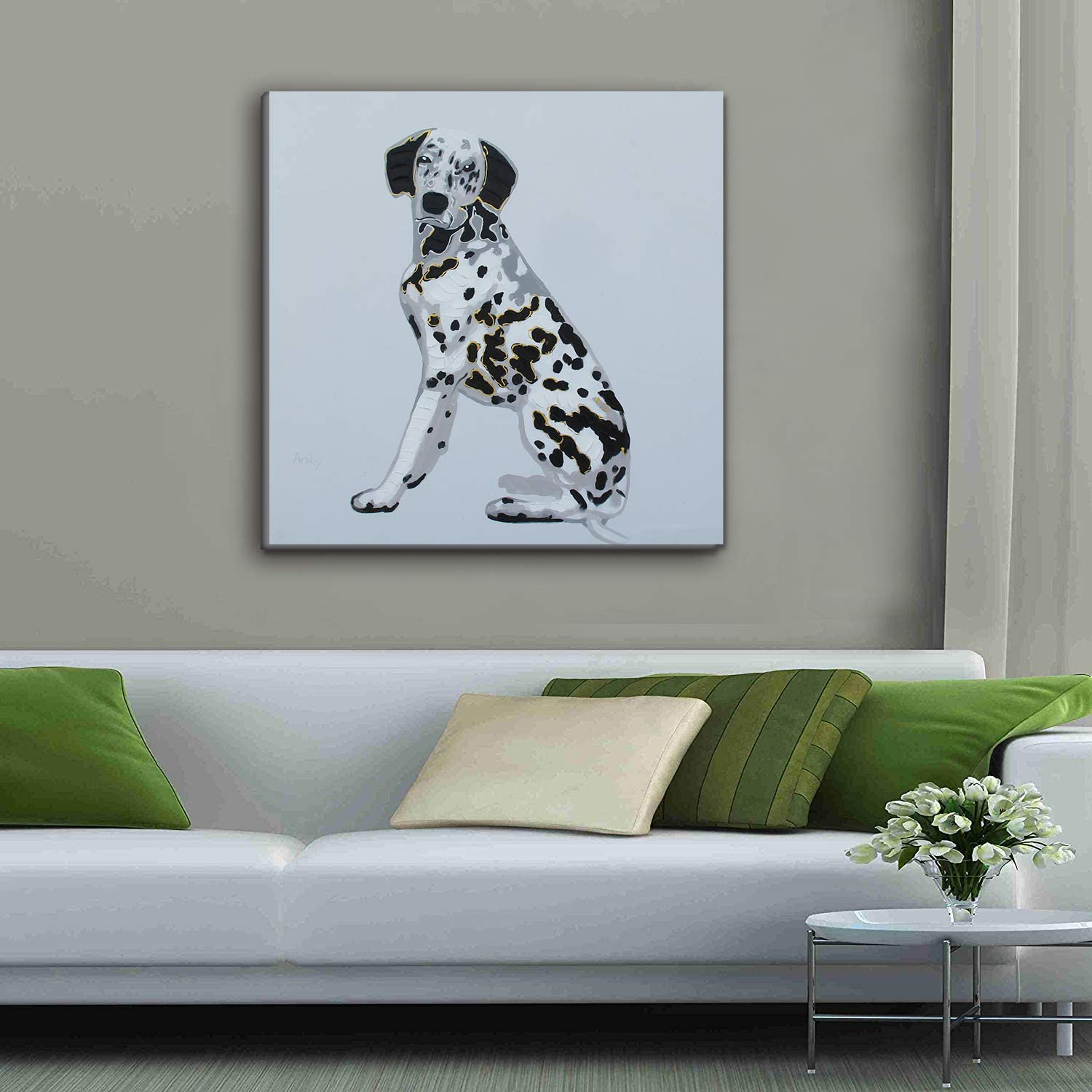 Xinya Art Large Spotted Dog Art 100/% HandmadePainting 32 x 32 inch