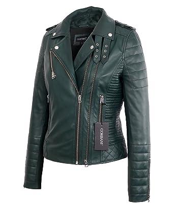 c717f65e82c4 Womens Biker Green Lambskin Real Leather Jacket at Amazon Women s Coats Shop