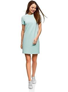oodji Ultra Damen L/ässiges Kleid mit Kurzen /Ärmeln