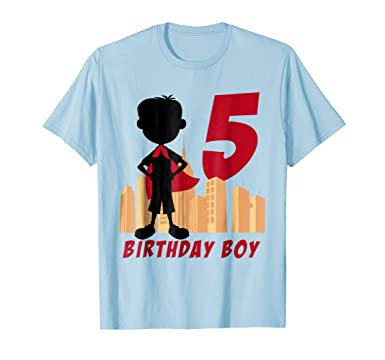 Mens Kids 5th Birthday Comic Superhero T Shirt For 5 Yr Old Boys 2XL Baby