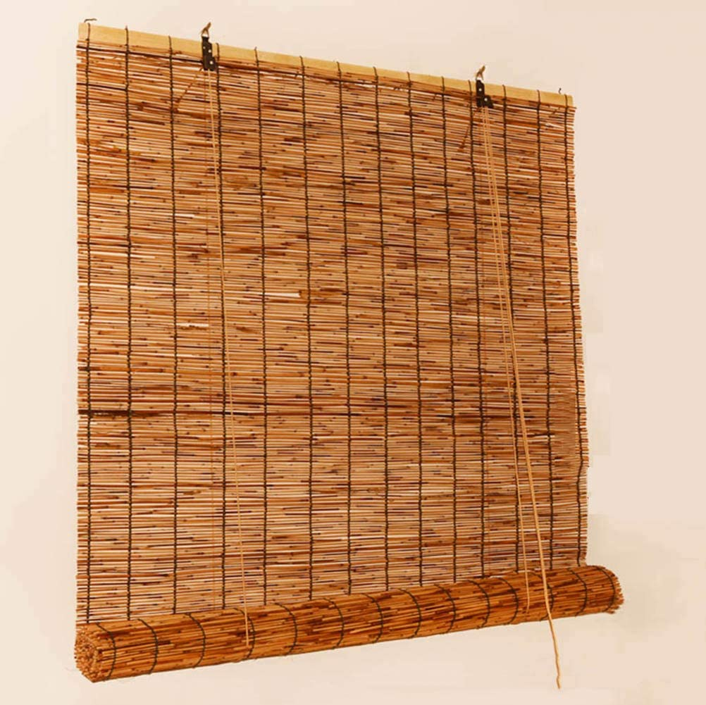 50//55 W x 50-135 L T/&P Tp Natural Reed Roll Up Window Blind Bamboo Blinds Light Filtering Roller Shades with Valance for Outdoor//Indoor//Garden//Balcony//Window