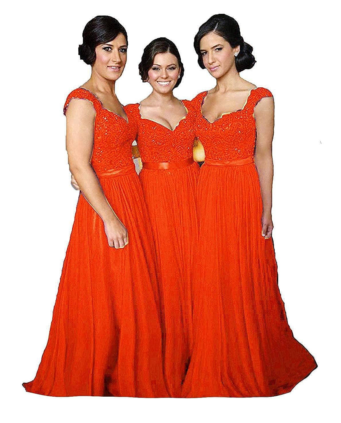 Fire orange Fanciest Women' Cap Sleeve Lace Bridesmaid Dresses Long Wedding Party Gowns