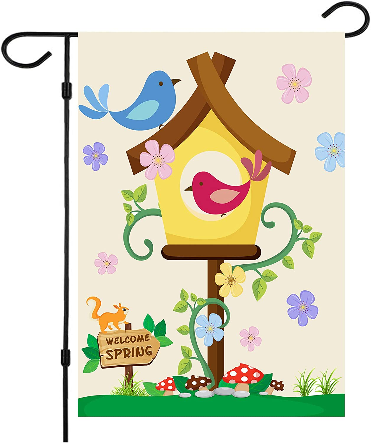 Spring Garden Flag,Hello Spring Flag Double Sided Welcome Burlap Seasonal House and Bird Spring House Flags 12x18 Inch Summer Yard Signs Outdoor Decor for Homes,Gardens,Patio or Lawn