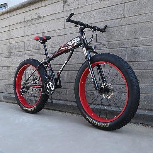 GuoEY Bicicleta de Nieve Freno de Disco Doble Rueda Ancha Bicicleta de montaña 26/24 Pulgadas Adulto, Amortiguador Completo Adulto Neumático Gordo Velocidad de la Carretera Marco de Descenso Bicic: Amazon.es: Hogar