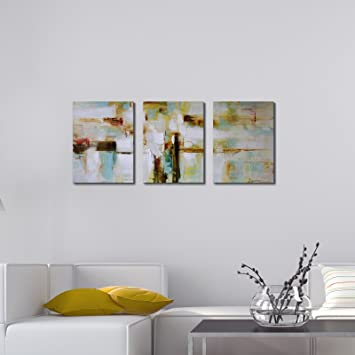 ARTLAND Framed Modern Wall Art Wonderful Life 3 Piece Gallery Wrapped  Abstract Painting On