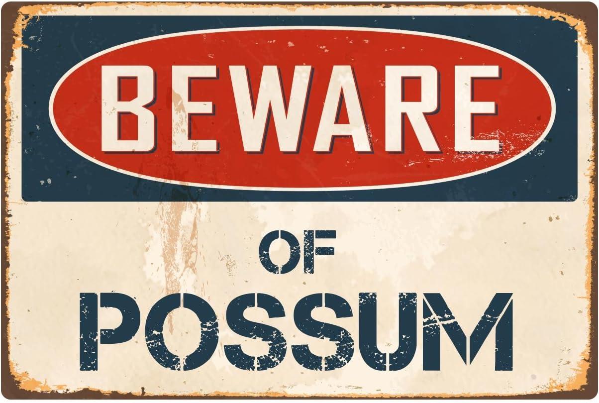 """StickerPirate Beware of Possum 8"""" x 12"""" Vintage Aluminum Retro Metal Sign VS341"""
