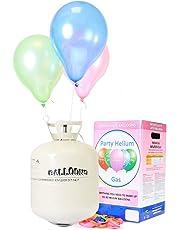 Ballongas Helium für bis zu 50 Luftballons / XXL Einweg Heliumbehälter inkl. 50 Latexballons + Ballonband für leichtes befüllen von Ballons