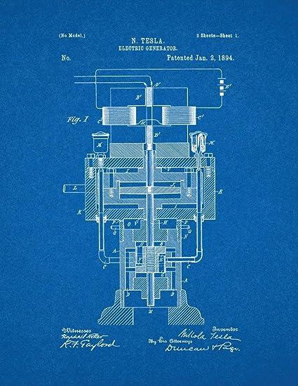 Tesla Electric Generator Patent Print Art Poster Blueprint (8.5u0026quot; ...